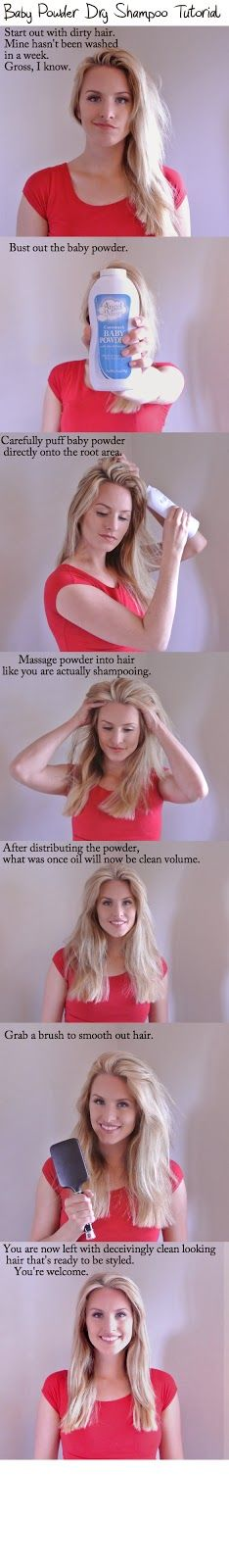 DIY dry shampoo with baby powder.  That's all you need.  Tutorial on how to apply and distribute it. No more paying for expensive dry shampoo.