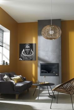 In order to offer your own living room a totally one-of-a-kind look, uniquely designed wall pieces is the … Yellow Walls Living Room, Mustard Living Rooms, Living Room Paint, Living Room Grey, Living Room Decor, Yellow Wall Decor, Mustard Yellow Walls, Interior House Colors, Interior Design Yellow