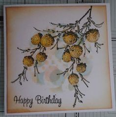 For this weeks card I have used a cut out circle and placed a stencil over it and sponged to get the background pattern, then staamed the Penny Black Delicate Floral.