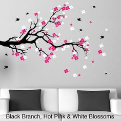 Cherry Blossom Branch with Birds Vinyl Wall Art Decal (Black Branch with Hot Pink and Soft Pink Blossoms), Size Extra Large Simple Wall Paintings, Wall Painting Decor, Hand Painting Art, Vinyl Wall Art, Wall Decals, Bird Wall Art, Gold Bedroom Decor, Bedroom Murals, Bedroom Ideas