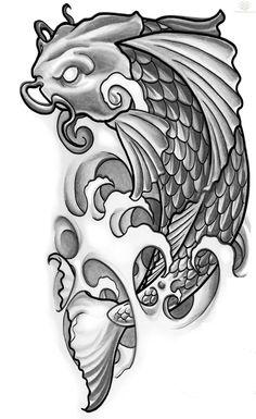 Koi Tattoo Design Koi Karpfen Tattoo, Tattoo Drawings, Koi Dragon Tattoo, Dragon Koi Tattoo Design, Tattoo Sketches, Fish Tattoos, Small Tattoos, Modern Tattoos, Tatoos