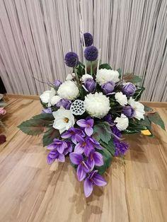 Cos, Funeral, Floral Arrangements, Floral Wreath, Wreaths, Table Decorations, Purple, Flowers, Plants
