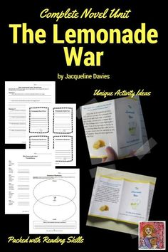 The Lemonade War by Jacqueline Davies complete novel study, lots of financial literacy options and unique reading comprehension activities, grades 3-5