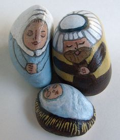 Small Yellow and Blue Nativity Scene Figures