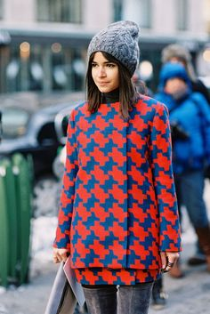Miroslava Duma in pattern prints + beanie street style #fashion