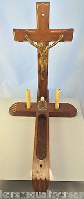 Catholic Last Rites Sick Call Divinity Wall Crucifix Cross Candles Bottle
