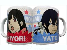 Noragami Mugs...since this is me and My boyfriend's otp he'd have the Yato mug and I'd have the Hiyori mug. AND YES MY BOYFRIEND SHIPS THINGS. DEAL WITH IT.