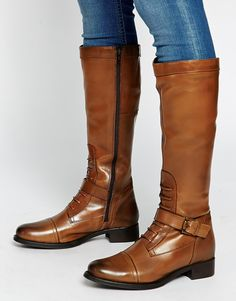 Ravel Strap Leather Knee Boots