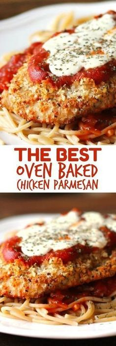 The Best Oven-Baked Chicken Parmesan recipe if you're looking for a healthier chicken parmesan recipe! The Best Oven-Baked Chicken Parmesan recipe if you're looking for a healthier chicken parmesan recipe! Oven Baked Chicken Parmesan, Baked Chicken Recipes, Recipe Chicken, Steak Recipes, Easy Baked Chicken Parmesan Recipe, Stuffed Chicken Parmesan, Baked Food, Sausage Recipes, Chicken Parmesan Casserole