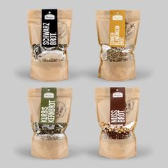 12ender packaged four baking mixes in beautiful kraft paper pouches with a window that allows consumers a visual to the many layers that make up Brot Bread.