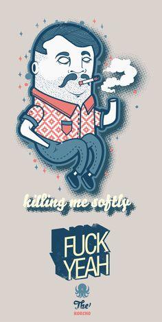 illustration ref FUCK by korcho , via Behance Character Illustration, Graphic Design Illustration, Digital Illustration, Graphic Art, Web Design, Design Art, Le Clan, Design Poster, Graffiti