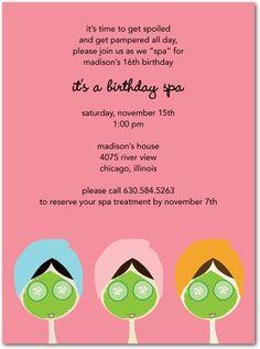 Little girls spa birthday party invite!
