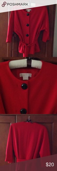 Michael Kors Red Top / Jacket Sz MP Michael Kors Red Belted Top/Jacket Like new!! Worn only once  Sz MP 3/4 Sleeve Wear belted or open Great quality Michael Kors Other