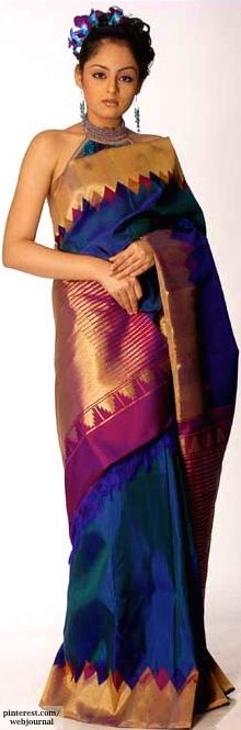 Pure Kanjivaram/ Kanchipuram handloom silk - http://www.gourisariasarees.com