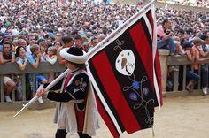 Corteo storico del Palio dell'Assunta 2008.  Comparsa della Contrada priora della Civetta: Il Paggio Maggiore. Foto tratta dal sito http://palio.be/