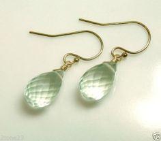 Couture Gem AAA Green Amethyst Prasiolite Teardrop 14k Gold Filled Earrings | eBay