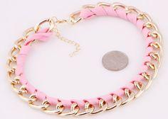 Fashion Gorgeous Pink Cloth Weave Gold Chain Bib Statement Chunky Necklace 924 #Handmade #Bib