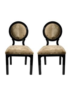 Pair of Luxe Art Deco Occasional Chairs with Round Back Design in Embossed Velvet