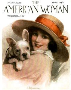 American Woman - April 1904 - lady in hat with red ribbon and her white french bulldog