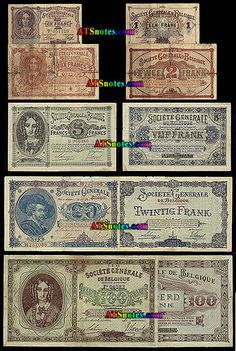 belgium money | 20, 100, 1.000 francs; German occupation