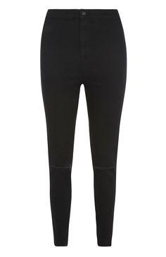 Primark - Schwarze, hochgeschnittene Skinny Jeans mit Used-Details am Knie (13€) - črne hlače