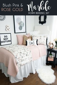 Our Black, Blush & Rose Gold Marble dorm bedding collection is everything you could (dorm) dream of. This carrara marble fabric features hints of white, black, and blush tones (with hints of grey). We are totally onto this rose gold dorm bedding trend. This rose gold metallic dorm pillow combined with the marble, ties, fringe, and fur… could you ask for any more?