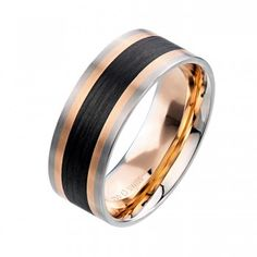 ($2380) Furrer Jacot men's wedding band from Diamonds Direct. The mix of metal and carbon fiber on this men's band is a great modern twist on a simple design. This band is 8 millimeters in width. #furrerjacot #carbon #fiber #twotone #mens #band #ring #weddingband #weddingring #accessories #mensaccessories