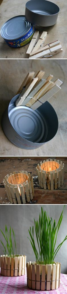 Clothespin Planter And Candle Holder