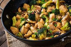 Thai Chicken Broccoli Make a quick weeknight dinner with this stir–fry recipe mixing chicken, broccoli, and onion in a mixture of soy sauce, ginger, and sugar. Learning stir fry is simple. Thai Chicken Broccoli Share This Recipe Yum Serves 4 Thai. Chicken Mushroom Stir Fry, Chicken Broccoli Stir Fry, Chicken And Vegetables, Healthy Chicken, Chicken Recipes, Recipe Chicken, Thai Chicken, Teriyaki Chicken, Fried Chicken