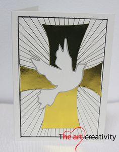 Biglietto per la Santa Cresima. #card #cresima #handmade #colomba #gold #auguri #paper #white