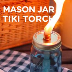 Whether you are camping in the woods or enjoying your backyard on a summer evening, citronella tiki torches are perfect for lighting and keeping the bugs away. The mason jars give the torches a cha… Lace Mason Jars, Vintage Mason Jars, Mason Jar Crafts, Vintage Candles, Citronella Torches, Tiki Torches, Camping In The Woods, Diy Wedding Video, Wedding Videos