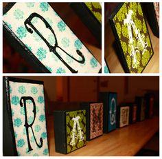 Family letters decopage blocks