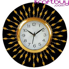 Treasure Crafts Analog cm X cm Wall Clock (Gold, Black, with Glass) Home Decor Items, Home Decor Accessories, Decorative Accessories, Handmade Clocks, Hanging Clock, Pearl Studs, Wooden Crafts, Brown Wood, Wooden Walls