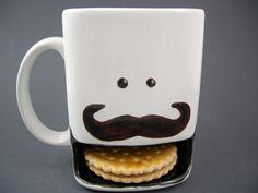 """Cookie Tasse """" Moustache """"aus Keramik von Dreamceramics - Exklusive Geschenkideen und Dekorationen aus Keramik auf DaWanda.com"""