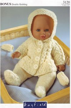 Vintage Knitting Pattern PDF Dolls Clothes Aran Hoodie Jacket Leggings and Mitts Premature Baby Reborn Dolls Knitting Dolls Clothes Patterns, Knitted Doll Patterns, Knitted Dolls, Baby Knitting Patterns, Baby Patterns, Free Knitting, Vintage Knitting, Double Knitting, Knitted Bags
