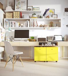 A pop of colour with a lemon cabinet transforms office staples into supporting characters, for artistic play.