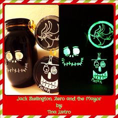 Celebrate throughout the entire holiday season with this cute and custom Nightmare Before Christmas, Glow in the Dark Mason Jar and Tags.