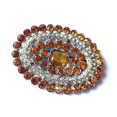 Honey Hued Rhinestone Statement Brooch circa 1930s Dorothea's Closet Vintage Jewelry