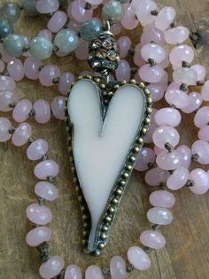 Heart necklace long knotted necklace  She Loves  by 3DivasStudio, $139.00
