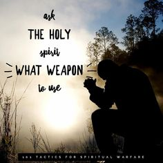Spiritual Warfare Tactic 37 ••Ask the Holy Spirit What Weapon to Use•• Using the wrong weapon is like trying to cut down a tree with a… Spiritual Warfare, Holy Spirit, Holi, Weapons, Nerd, Spirituality, Daughter, Bible, Movie Posters
