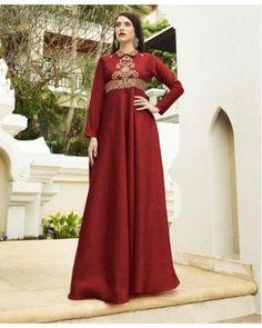Red Bhagalpuri Silk Gown
