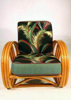 /\ /\ . 3 Strand Pretzel Rattan Chair with Barkcloth Cushions