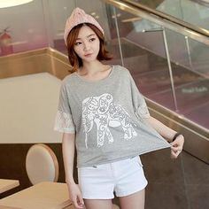 Buy 'CLICK – Lace-Trim Elephant Print T-Shirt' with Free International Shipping at YesStyle.com. Browse and shop for thousands of Asian fashion items from South Korea and more!