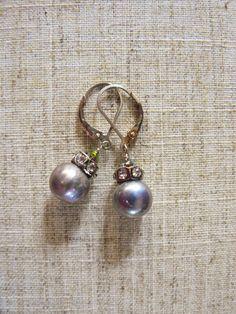Vineyard Pearl and Rhinestone Dangle Earring  Materials: Pearl, Rhinestone, Crystal, Silver