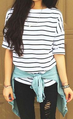 Love the striped shirt and blk jeans