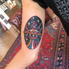 Colorful Spaceship Tattoo By Jesus Cuesta   http://tattoos-ideas.net/colorful-spaceship-tattoo-by-jesus-cuesta/