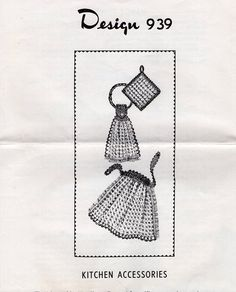 Vintage Retro 1970s 70s Mail Order 939 Crochet Kitchen Accessories Apron Potholder Dish Towel Craft Sewing Large 1 page Leaflet FREE US SHIP by LanetzLiving on Etsy