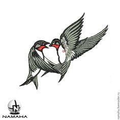 Купить Птички ласточки вышивка на одежде птица вышивка на джинсах аппликация - аппликация вышитая namaha
