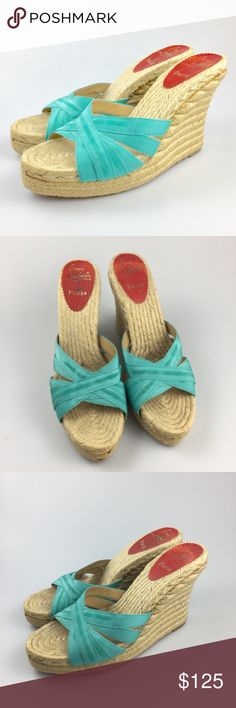 Christian Louboutin Blue Espadrille Wedges Sandals European size 40, US size 10. These wedges are in good condition and are very clean on the inside. Christian Louboutin Shoes Espadrilles