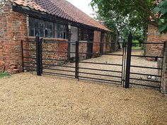 Beautiful, bespoke solid steel park fencing, gates & posts for East Anglia. Made by craftsmen, installed by experts. UK supply service. Call 01263 735656. Driveway Gate, Fence Gate, Metal Garden Fencing, Cotswold House, Barn Stalls, Gate Post, Front Gates, Gate Ideas, Fence Ideas